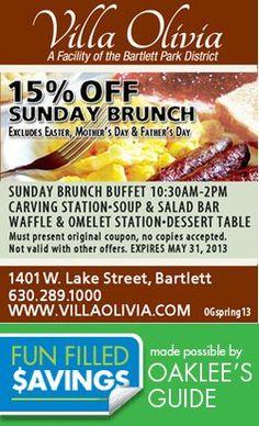 Brunch it UP! a Villa Olivia (brunch is our favorite holiday! Salad Bar, Soup And Salad, Local Coupons, Carving Station, Sunday Brunch, Favorite Holiday, Villa, Food, Essen