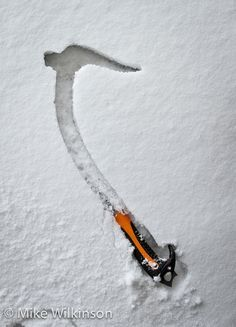 Impressions of an ice axe Ice Climbing, Mountain Climbing, Climbing Everest, Mountain Equipment, Rappelling, Mountaineering, Outdoor Life, Men's Denim, Danger