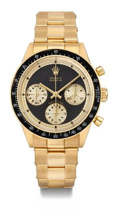 Rolex. A very fine and extremely rare 18K gold chronograph wristwatch with bracelet retailed by Hermes,Daytona, Paul Newman model, ref. 6241, manufactured circa 1968,CHF 200000-300000