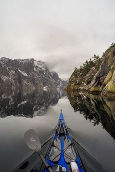"""Winter kayaking in Lysefjord, Norway Photo: Kayak Camping, Canoe And Kayak, Kayak Fishing, Kayak Paddle, Canoe Trip, Fishing Boats, Kayaks, Rafting, Canoa Kayak"