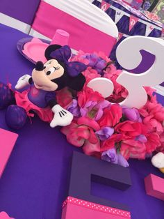 Pretty decor at a Minnie Mouse birthday party! See more party planning ideas at CatchMyParty.com!