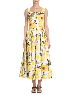 DOLCE & GABBANA Embellished Lemon-Print Midi Dress. #dolcegabbana #cloth #dress