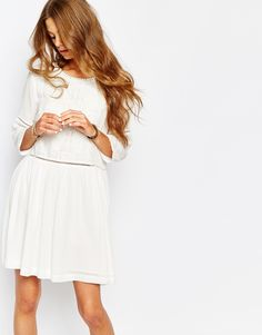 Suncoo+Embroidered+Drop+Waist+Dress+in+White