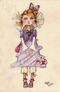 Dibujo para diseño de muñeca Violeta Por FZM