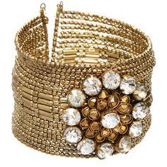 Ten79LA Goldtone & Topaz Czech Crystal Cuff ($17) ❤ liked on Polyvore featuring jewelry, bracelets, crystal stone jewelry, crystal bangles, crystal beads jewellery, crystal jewelry and cuff bangle