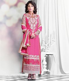 Shopping with Shoppers99 you will find a wide collection of #HinaKhan Designer #PakistaniSuits in bright shades and beautiful colors patterned.  Shop Now:- http://www.shoppers99.com/malaika_arora_khan_pakistani_suits/hina_khan_pink_white_pakistani_style_suit_t-667-974