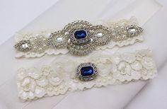 Something Blue Wedding Garter Set  Rhinestone by LyaLyaCreations