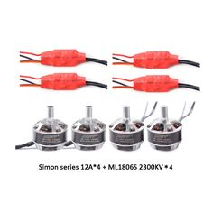 59.90$  Buy here - http://alixe1.worldwells.pw/go.php?t=32361351583 - GARTT 2 CW 2 CCW ML 1806 S 2300KV motor & 4 PCS Simon series 12A Brushless ESC Speed Controller for FPV QAV 250 Quadcopter Drone
