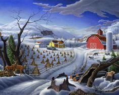 Folk Art Landscapes | Rural Winter Folk Art Farm Americana Landscape Walt Curlee waltcurlee ...