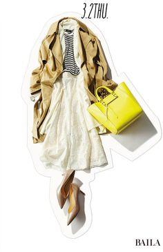 ロングカーデをライナー代わりに♡ 春の白メインコーデは、とろみトレンチで引き締め!-@BAILA ワタシを惹きつける。モノがうごく。リアルにひびく。BAILA公式サイト|HAPPY PLUS(ハピプラ)集英社
