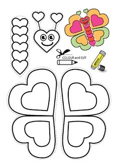 Printable color and make your own butterfly, great to include with a letter to your sponsored child(Butter Fly Printable) Valentine Crafts For Kids, Mothers Day Crafts For Kids, Diy Crafts For Kids, Projects For Kids, Holiday Crafts, Art For Kids, Arts And Crafts, Valentines, Toddler Crafts