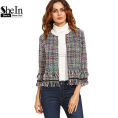 SheIn Women Blazers For Ladies Autumn Multicolor Tassel Hem Collarless Three Quarter Length Sleeve Outwear Fitted Short Blazer