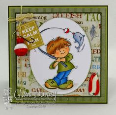 """High Hopes Stamps: Sneak Peek! """"keep Calm & Fish On"""" by Cheri using a new release from Fairies & Adventurers called """"Gabriel's A Fisherman"""""""