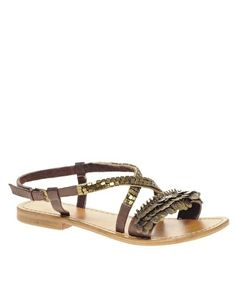 Enlarge ASOS FIFI Leather Flat Sandals With Coin Detail