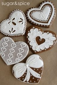 Cross-stitch and lace gingerbread hearts  #wedding #Valentines Day   www.finditforweddings.com