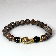 Men's Buddha Meditation Mala Bracelet with Garnet and Snowflake Jasper