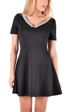 Damen Kleid Minikleid mit V Ausschnitt