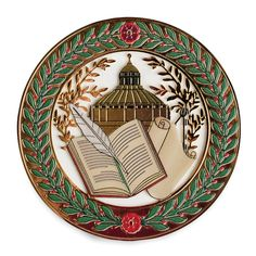 This elegant ornament is adorned with the symbols inspired by the architectural details seen throughout the Great Hall of the Library of Congress. The scroll, o