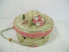 Retro Round Dusty Rose Pink & Sage Green Lidded by DivineOrders