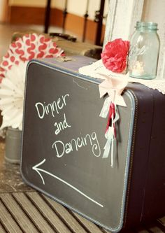 How creative! Chalkboard paint on a vintage suitcase. I love this idea for the guest room Chalk It Up, Chalk Board, Chalk Talk, Rustic Wedding, Wedding Ideas, Wedding Fun, Woodland Wedding, Wedding Signs, Wedding Reception