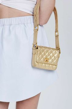 Vintage Chanel Gold Quilted Leather Bag | Shop Bags at Nasty Gal