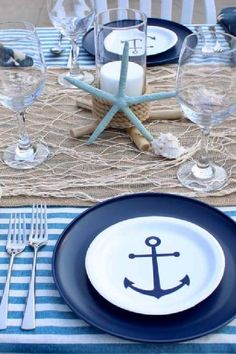 Take a look at the impressive nautical-inspired table settings at this nautical baby shower!!! See more party ideas and share yours at CatchMyParty.com
