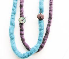 Turquoise and Purple Felt Necklace Fiber Long by totalhandmadeD