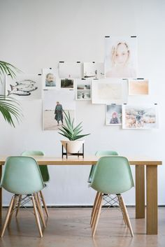 Mint Eames Style chairs looking awesome in a modern dining room Eames Chairs, Dining Chairs, Eames Dining, Room Chairs, Parsons Chairs, Bag Chairs, Dining Table, Upholstered Chairs, Wood Table