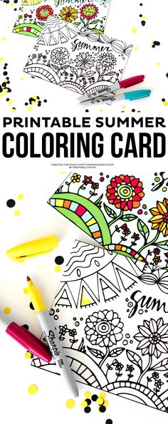 Printable Summer Coloring Card