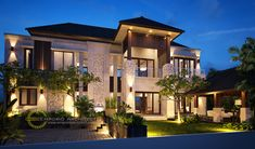 Melly Private House - Jakarta- Quality house design of architectural services, experienced professional Bali Villa Tropical designs from Emporio Architect. House Front Design, Modern House Design, Bali House, House 2, Architectural Services, Facade House, Classic House, Floor Design, Home Fashion