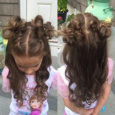 My daughter picked her own style today. 2 half Dutch Braids into messy buns with curly hair. #braidsforlittlegirls #littlegirlhairstyles #braidtrends #cutegirlshairstyles #prettyhair #flette