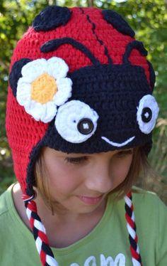 Children's Crochet Animal Hat: Ladybugs - Cows - Owls! (2-8 Years   Ladybug)