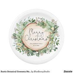 Shop Rustic Botanical Greenery Merry Christmas Holiday Paper Plate created by BlueBunnyStudio. Personalize it with photos & text or purchase as is! Christmas Photo Cards, Vintage Christmas Cards, Christmas Greeting Cards, Christmas Holidays, Merry Christmas, Christmas Paper Plates, Cake Servings, Party Tableware, White Elephant Gifts