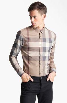 Burberry London Trim Fit Check Shirt available at #Nordstrom