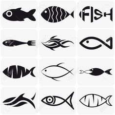 Collection of creative vector black fish icons on white background Illustration , Fish Vector, Vector Art, Small Fish Tattoos, Layout Design, Logo Design, Fish Icon, Photographie Portrait Inspiration, Watercolor Fish, Fish Drawings