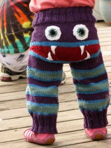 """""""Knitted Monster Pajama Pants For Kids.""""  The patterns that are """"free"""" are NOTHING like this picture, so I've written my own for it.  I used the same color scheme with Shine from Knitpicks."""