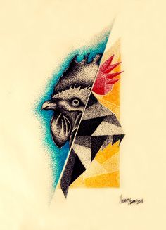 Tattoo Sketch Rooster Geometric Ink