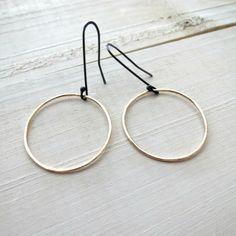Modern gold hoops gold earrings gold by BLUEskyBLACKbird on Etsy