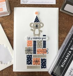 Kids Birthday Cards, Birthday Images, Card Making Inspiration, Making Ideas, Stamping Up Cards, Animal Cards, Paper Cards, Kids Cards, Creative Cards
