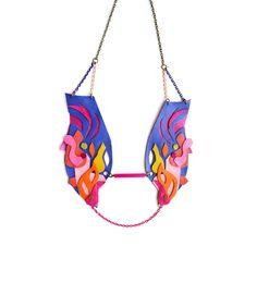 Neon Leather Collar Necklace Geometric Ink Blot. $54.00, via Etsy.