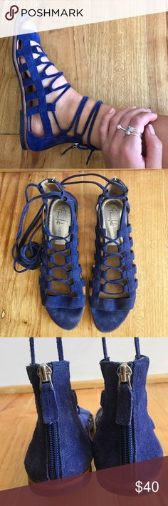 🔥MAKE AN OFFER🔥Franco Sarto Leather wrap sandals Like-new. Worn just a couple of times. Beautiful blue genuine leather sandals. Comfortable padded sole. Need gone ASAP so make an offer! Franco Sarto Shoes Sandals