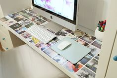 Love this idea of having a photo collage right on the desk!  Can put the photos down with some tape and cover it with a transparent desk cover
