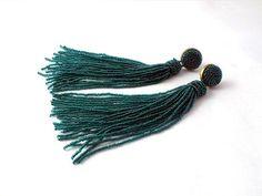 Beaded long tassel earrings emerald green tassle by RebekeJewelry