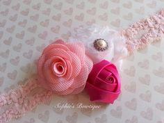 Trio of rosettes headband Valentine's by SophiesBowtiqueSI on Etsy