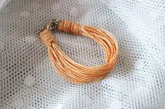 Raw linen bracelet in peach Nature simple bracelet by EttarielArt