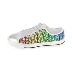 triangles in triangles pattern blk rainbow Canvas Women