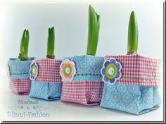 Lass den Frühling ins Haus!    Diese Stoffkörbchen helfen dir dabei, sie passen genau um die kleinen 7 x 7 cm Blumentöpfchen, in der Höhe sind sie ...