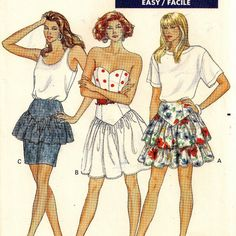 Butterick 6342, A Yoked, No Waistband Skirt Pattern with Ruffle / Flounce, Flared and Tapered Variations by So Sew Some!
