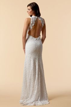 White cotton crochet lace v-neck gown with keyhole back & fluted hem