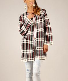 This Red & Ecru Plaid Wool-Blend Cardigan is perfect! #zulilyfinds